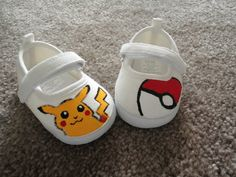 Hand Painted Custom Pokemon Baby Shoes by KylieBKirkland on Etsy, $20.00