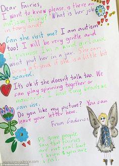 'Existem fadas autistas?' pergunta Cadence de 8 anos em carta