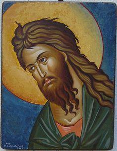 John the Baptist by Maria Hatjivasiliou Religious Icons, Religious Art, Byzantine Art, John The Baptist, Art Icon, Orthodox Icons, Sacred Art, Christian Art, Saints