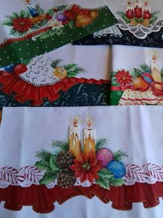 69 Ideas for painting christmas navidad Christmas Quilt Patterns, Christmas Embroidery Patterns, Christmas Fabric, Cozy Christmas, A Christmas Story, Cutwork Embroidery, Embroidery Designs, Frame Border Design, Christmas Decorations