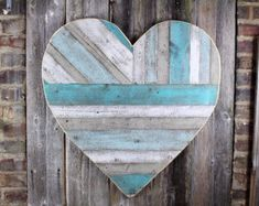 Rustic reclaimed wood heart large wood heart beach by AlmaBoheme