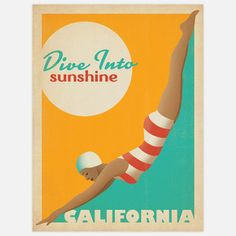 Diver California Ad Print 18x24 now featured on Fab $27