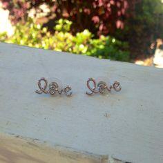 Silver cursive love earrings by SaltwaterBliss on Etsy