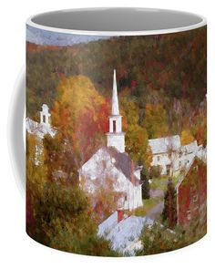 Vermont village of Barnet in autumn Coffee Mug by Jeff Folger. Autumn Coffee, Barnet, Mugs For Sale, Vermont, New England, Cities, Coffee Mugs, Photograph, Tapestry