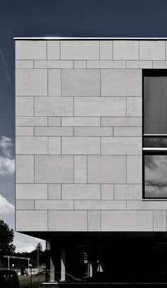 Equitone fiber cement facing material has through-color construction. Metal Facade, Concrete Facade, Stone Facade, Facade Pattern, Paving Pattern, Detail Architecture, Minimalist Architecture, Facade Design, Exterior Design