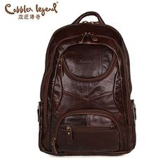 Cobbler Legend Famous Brand Men Large Capacity Cow Leather backpack 2016  New Travel Bags Backpacks Student f58940973dadd