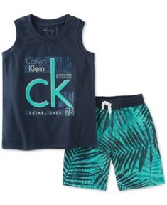 Calvin Klein Baby Boys' 2 Pieces Muscle Top Short Set, Navy, String at waist on shorts Pocket on shorts Cute Kids Fashion, Little Boy Fashion, Baby Boy Fashion, Toddler Outfits, Baby Boy Outfits, Kids Outfits, Fashion Niños, Calvin Klein 2, Dress Shirts For Women