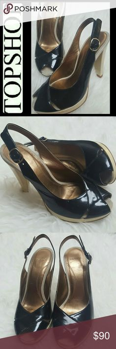 Topshop Patent Leather Slingback Heels Topshop Signature Shoes in Classic Black Patent Leather Upper Heels! Peep Toe Style with Adjustable Slingback Strap! Sexy Cream Colored Covered Heels of About 4.5 Inches! Made in Brazil, Used in Good Condition! Size 37 Topshop Shoes Sandals