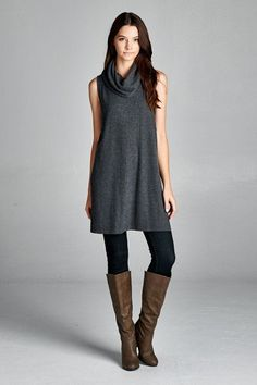 Gray Cowl Neck Tunic