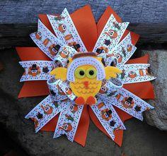 Owl Thanksgiving Hair Bow Owl Hair Bow Owl Bow Thanksgiving Hair Bow Thanksgiving Bow Autumn Bow Autumn Hair Bow Fall Hair Bow