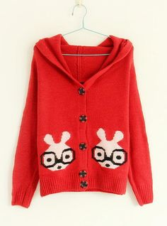 Glasses Rabbit Pattern Sweaters Red$40.00