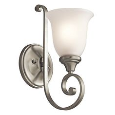 Best Bathroom Light Fixtures | Kichler Lighting 43170NI Monroe 1Light Wall Sconce Brushed Nickel Finish with Satin Etched Glass >>> Click on the image for additional details. Note:It is Affiliate Link to Amazon.