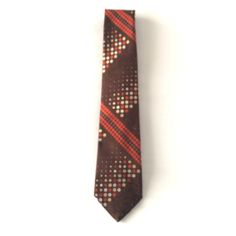 Brown and Orange Stripes and Polka Dots Neck Tie 60s 70s