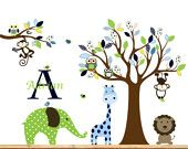Giraffeelephantmonkey nursery wall decal sticker by wallartdesign