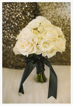 white rose bouquet with black ribbon, great for bridesmaids