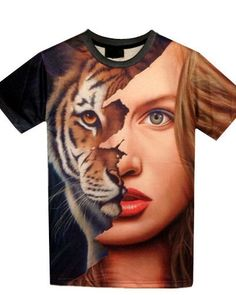 6f6a8b6a5 2017 Summer New Men/Women T Shirt Du Jin Sha Printing T-Shirt Printing Tiger  Beauty Stitching Apparel