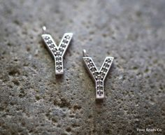 Letter Y- Unique Initial Alphabet Letters, Silver Plated with Zirconia - INTS-Y
