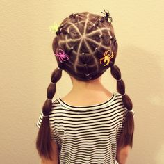 Spiderweb hairstyle for crazy hair day!