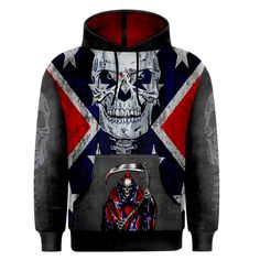 Confederate Skull Men's Hoodie Redneck Clothes, Redneck Crazy, Pretty Outfits, Cute Outfits, Rebel Flags, Country Style Outfits, Southern Pride, Confederate Flag, Hoodie Sweatshirts