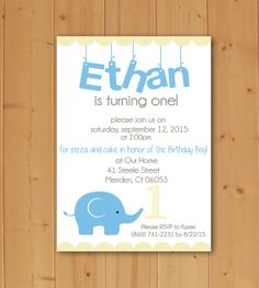 Planning an upcoming Birthday Party? Check out this adorable and unique Elephant Party Invitation! Available in Blue and Purple, and for any age! Completely customizable and quick and easy to print!