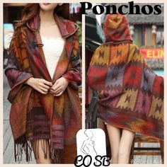 Colorful Boho Print Ponchos w/leather like hook Boho colorful print large size ponchos. Ponchos are very versatile & can be worn many ways (see pics). All have fringes & have colors shown. Ponchos have leather like hook @ the top. Each poncho is $43. Please specify when purchasing & will create a new listing. Cycle Boutique Sweaters Shrugs & Ponchos