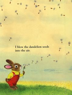 I blow the dandelion seeds into the air - Richard Scarry illustration Richard Scarry, Tatty Teddy, Vintage Children's Books, Children's Book Illustration, Book Illustrations, Make A Wish, Childhood Memories, Childrens Books, Illustrators