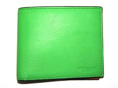 COACH Men s Wallet Leather Bi-fold Light Green and Brown 8 cards 1 full bill 53c46b142