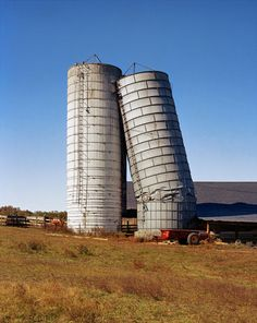 two silos, a bit worse for the wear, Kentucky