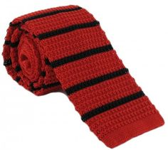 7517af10a26 Buy Michelsons of London Silk Knitted Striped Skinny Tie - Red Black at KJ  Beckett. Shop for a red silk tie by Michelsons of London online today.