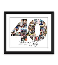 Forty 40 fortieth Big Thirty 30 twenty-One 21 Special Birthday Digital Printable Custom Any 1 or 2 digit Number Photo Collage - Geburtstag - Gift 40th Bday Ideas, 40th Birthday Parties, Special Birthday, 40 Birthday, Birthday Photo Collage, Birthday Photos, Marco Digital, Collage Foto, Photo Direct