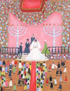 The Wedding by Leo Schutzman, c. 1960. This painting features many elements of a traditional Ashkenazi wedding celebration, including the garb worn by the male attendees, the celebratory circle dancing, and the wedding canopy, depicted at the top of the painting.