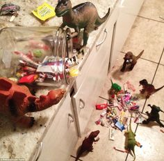 Pin for Later: 30 Dinovember Pictures That Will Drive Your Kids Wild Raiding the Candy Jar Plastic Dinosaurs, Dinosaur Toys, Dino Toys, Fantasy Play, The Good Dinosaur, Candy Jars, Halloween Candy, Prehistoric, Childhood