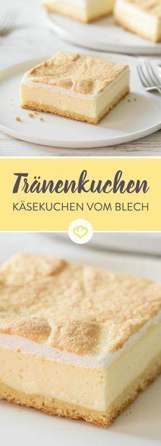 Heute gibt es einen ganz besonderen Käsekuchen – einen Käsekuchen mit Baiser. Einen Tränenkuchen, eine Goldtröpfchentorte oder einfach das Beste, das dein Backblech zu bieten hat. Ein zarter Mürbeteig, eine cremige Quarkmasse und on top eine luftige Baiserhaube – die Tränen quasi. Oder die Goldtröpfchen.