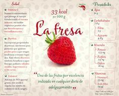 Las fresas Son perfectas para la gente que está a dieta. Contienen pocos azúcares y mucha agua por lo que son depurativas. Además, son ricas en fibra. - Favorecen el buen nivel de colesterol y cuidan de tus arterias. - Son antiinflamatorias y anticoagulantes. - Como contienen ácido cítrico, evitan y alivian las infecciones. - Mantienen el organismo joven por su aporte de vitamina C. #nutricion #verduras #frutas #alimentos #salud #beneficios #tips #saludable