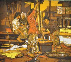 Ismail Mat Hussin pounding rice Southeast Asian Arts, Rice, Painting, Painting Art, Paintings, Painted Canvas, Laughter, Drawings, Jim Rice