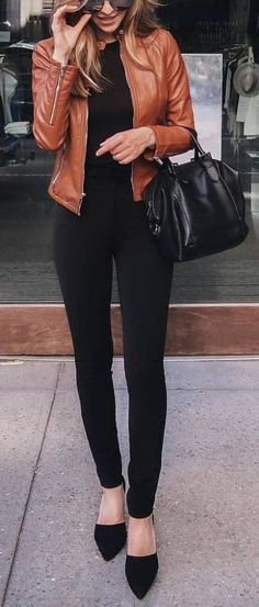 #winter #outfit / Leather Jacket - Black Flats