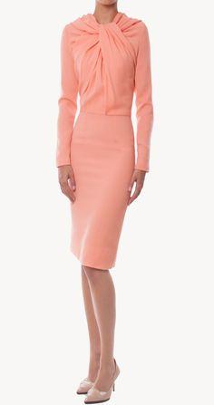 Vestido midi recto salmón | Maria Barros | 24fab