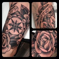 traditional compass tattoo black and grey - Google Search