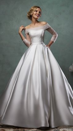 white satin wedding dress Picture - More Detailed Picture about 2017 Honey Qiao White Satin Wedding Dress Ball Gown Illusion Long Sleeves Off the Shoulder Bridal Gowns Cap Sleeves Vestidos Picture in Wedding Dresses from Honey Qiao Wedding Gowns Store Popular Wedding Dresses, 2016 Wedding Dresses, Bridal Dresses, Wedding Gowns, Dresses 2016, Prom Dresses, Tulle Wedding, Wedding White, Evening Dresses
