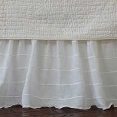 Tucked Linen Bed Skirt in White