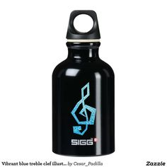 Vibrant blue treble clef illustration SIGG traveler 0.3L water bottle