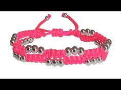 Como hacer pulseras de hilo con nudos de macrame y perlas o cuentas bisuteria tutorial - YouTube