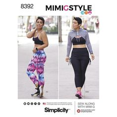 Simplicity Pattern 8392 Misses' Knit Sports Bra, Cropped Leggings with Attached Skirt and Mini Hoodie