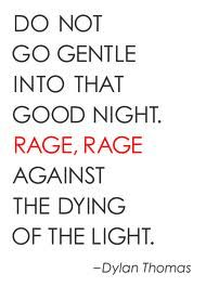 """I will not go quietly into that good night, but instead rage against the dying of the light."" Dylan Thomas. Words to live by. The amazing fight and sprit that lives inside every human wrapped into two elegant sentences."