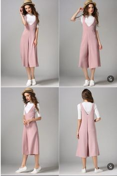 To my stylist: I'd wear that! It's fun! V cut culottes jumpsuit by JumpingAround Fashion Pants, Hijab Fashion, Teen Fashion, Korean Fashion, Fashion Dresses, Womens Fashion, Dress Outfits, Casual Outfits, Dress Up