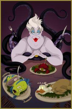 "Walt Disney Fan Art of Ursula, Sebastian, Flounder and Scuttle from ""The Little Mermaid"" 32158156 Disney Movie Villains, Disney Pixar, Disney Amor, Ursula Disney, Film Disney, Disney Characters, Ariel, Disney Parody, Disney Horror"