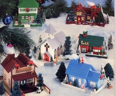 Vintage Plastic Canvas Christmas Village by allsfairyvintage