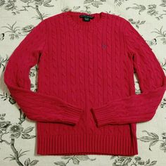 Ralph Lauren Polo Cable Knit Cotton Sweater Fuscia pink Ralph Lauren Polo cable knit cotton sweater. Like new. Perfect condition. Only worn twice. Ribbed hem and cuffs. 100% cotton. Thanks for shopping!    Polo by Ralph Lauren Sweaters Crew & Scoop Necks