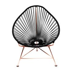 Innit Designs Acapulco Chair, Black Weave on Copper Frame for sale online Patio Chairs, Side Chairs, Outdoor Chairs, Furniture Chairs, Dining Chairs, Outdoor Furniture, Lounge Chairs, Room Chairs, Pink Furniture