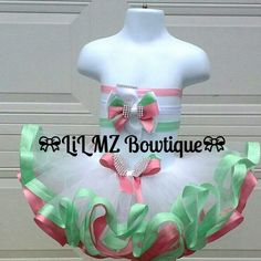 ***Available For Sale*** New Rose Pink and Mint Green Ribbon Trim Layer Tutu (Size-12m) with Matching Hair Bow with your choose of stretchy headband! (White, Mint Green or Pink) PM me for price or for more info or if you would like to place an order.